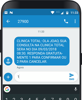 Sistema Clinica Total SMS Confirmacao